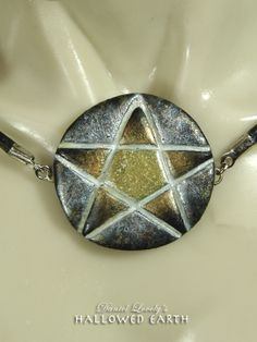 GILDED PENTAGRAM PENDANT w/Leather Necklace by HallowedEarth $35.00 #handmade #ooak #pentagram #pagan #leather #wicca #giftsforhim #accessories #unisexjewelry #statementjewelry #necklace #daniellovely.com