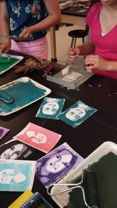Art with Ms. Lloyd: 7th grade 2-D: Printmaking!!! For this project, I took a picture of the students and used paint.net to posterize the photos into 3 colors (black, grey and white). Students shaded on the back and transferred all of their white areas onto the linoleum. Students used the gauge to carve away all of the areas of their print that would be left white. Since we were printing on white paper, we didn't need to print this part. All that would be left would be the grey and black…