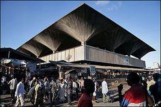 Kariakoo market in Dar es Salaam, Tanzania - amazing fan roof in Breton bru!