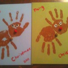 picture only - preschool craft Christmas reindeer made with hand prints