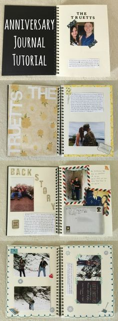 Anniversary journal! Good idea for a DIY anniversary gift! Has lots of ideas for what to put inside and examples!