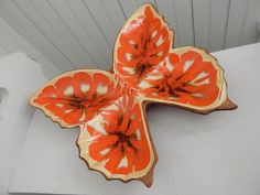 Retro Mod Treasure Craft Orange Butterfly Dish #38 - Condiment, Olive, Nut Dish - Mid Century 1960's Table Ware by GlitteringDragonfly on Etsy https://www.etsy.com/listing/222417123/retro-mod-treasure-craft-orange