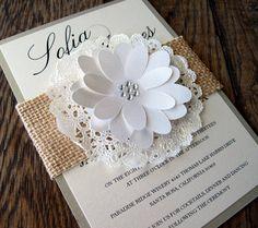 Wedding Invitation Burlap Lace Doily Sleeve Shabby Chic Country Barn. $7.50, via Etsy.