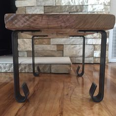Handcrafted Forged Rustic Reclaimed Metal Coffee Table Legs Steel Straight Rectangle Brackets, Modern bracket Storage Strap Angle seat iron