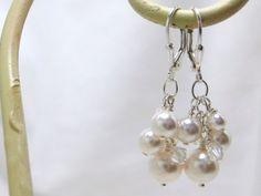 White Pearl Bridal Earrings Cluster Earrings by BGBJewelry on Etsy, $23.00