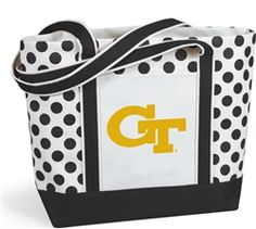 $24 Seeing spots? It's our new Polka Dot tote. Thick natural canvas is accented with your team color straps with double thick bottom and decorative dots. It features and outside pocket and shoulder length straps and the Georgia Tech Yellow Jackets Logo