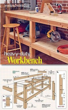 - Heavy Duty Workbench Plans - Workshop Solutions DIY Workbench - Workshop Solutions Plans, Tips and Tricks - Heavy-Duty Plank Workbench Woodworking Bench Plans, Woodworking Furniture, Teds Woodworking, Woodworking Crafts, Popular Woodworking, Woodworking Equipment, Woodworking Classes, Woodworking Apron, Cardboard Furniture