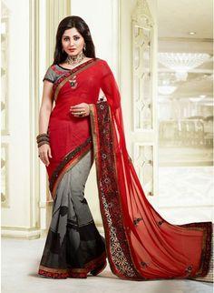 Mesmerizing Gray & Red Embroidered #Saree #designersarees #clothing #womenswear #womenapparel #ethnicwear