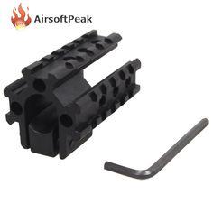 Airsoft Tri-Rail Barrel Mount For 20mm Picatinny Weaver Rail For Scope Mounts Tactical Hunting Shotgun Scope Base Tool ^