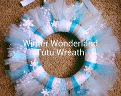 Disney Frozen Theme Tutu Wreath~Birthday decoration, Girl Bedroom Decor ~ Elsa Anna Tutu Wreath~ Winter Wonderland