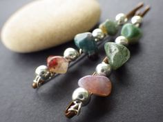 Nature Inspired Indian Agate and Silver Green Pink by CassieVision
