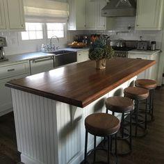 Kitchen Island With Seating, Diy Kitchen Island, Kitchen Redo, Home Decor Kitchen, Rustic Kitchen, New Kitchen, Home Kitchens, Kitchen Remodel, Kitchen Design