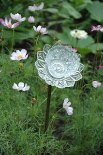 dish up some glass blooms for your garden - Glass Garden Art