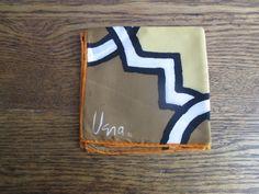 Vintage Vera Neumann Brown, Gold, and Orange Interlocking Design Scarf by TheJoeKnoxCompany on Etsy