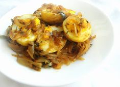 Priya's Versatile Recipes: Egg Onion Roast Egg Recipes Indian, Egg Roast, Fennel Seeds, Curry Leaves, Side Dishes Easy, Garam Masala, Boiled Eggs, Onion, Veggies