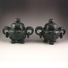 Hetian Jade Low Relief Double Rings Incense Burner 中國清風格 和田玉青玉淺浮雕雙環香爐