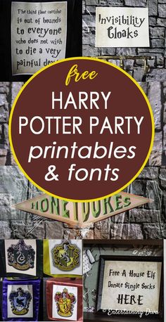 These free Harry Potter party printables and fonts are an easy way to create Harry Potter decorations without having to spend a lot of money. potter drawings easy logo Harry Potter Party Printables and Fonts - Entertaining Diva @ From House To Home Baby Harry Potter, Harry Potter Motto Party, Harry Potter Fiesta, Décoration Harry Potter, Harry Potter Thema, Classe Harry Potter, Harry Potter Classroom, Harry Potter Bedroom, Geek Decor