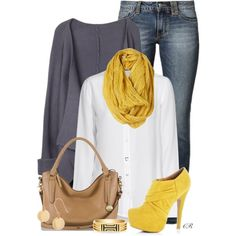 Gray, yellow and denim. I'd swap the high heeled shoes for flats.