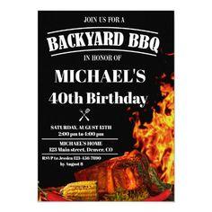Backyard BBQ invitation Barbeque birthday invite Birthday Bbq, Roasted Meat, Bbq Party, Backyard Bbq, Birthday Invitations, Invite, Party Supplies, Party Themes, Tasty