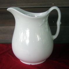 Antique White Ironstone Pitcher - Chain Of Tulips Shape, mid 1800s