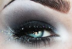 grey black white glitter eye shadow makeup - don't go all the way to the brow bone!