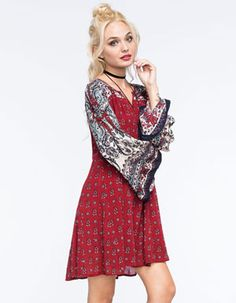 PATRONS OF PEACE Paisley Bell Sleeve Dress