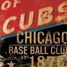 Chicago Cubs BaseBall Club sign art original illustration  graphic art  on canvas 12 x 12 by geministudio