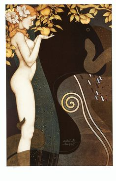 The Golden Serpent by Michael Parkes. It reminds me of Klimt...
