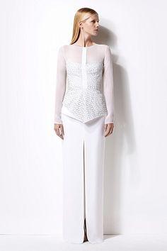 Lily evening dress - silk - long sheer sleeves - laser cut corseted bodice - peplum at waist - straight pencil skirt - centre front slit #womenswear