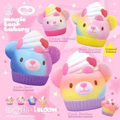Super soft and slow rising sweet ibloom colourful bear cupcake squishy Pretty rainbow and galaxy patterns Approx Comes with licensed packaging 4 Rainbow Frosting, Pink Frosting, Ibloom Squishies, Silly Squishies, Bear Cupcakes, Galaxy Pattern, Cube Toy, Musical Toys, Gummy Bears
