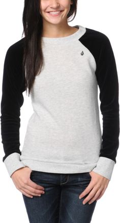 Volcom Girls Notafaze Heather Grey & Black Velour Crew Neck Top