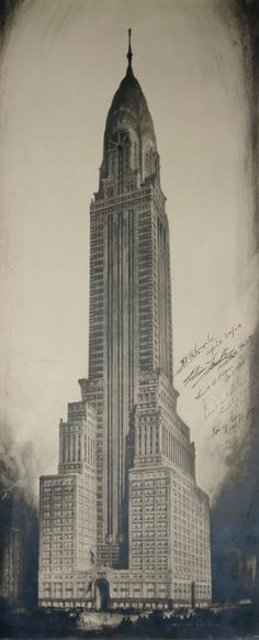 Architectural drawings by the great Hugh Ferriss. His archives are held by Avery Library.