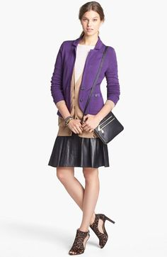 Halogen® Sweater Jacket, Cardigan Leather Skirt & Caslon® Tee  available at #Nordstrom