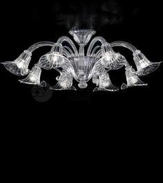 """Plafoniera in Vetro di Murano """"Calla"""" Murano Glass ceiling """"calla""""  #muranoceiling #crystal #lights #original #murano #design #vetro #plafoniere #lusso"""