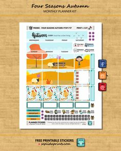 Free Printable Four Seasons {Autumn} Planner Stickers from Sepiida Prints