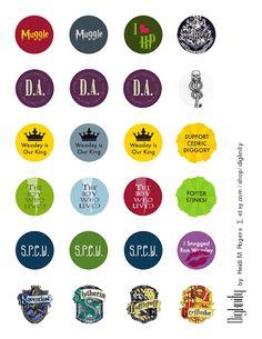 S.P.E.W.   H.E.L.F.   Resin Bottle Cap Pins Tutorial with Harry Potter and Hunger Games Printable - Rae Gun Ramblings