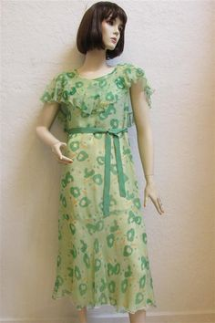 """1930's Green Chiffon And Ruffled """"Great Gatsby"""" Garden Dress With Ribbon Waist Tie - Size XS/S by MTvintageclothing on Etsy"""