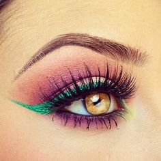 Purple eyeshadow with green winged liner #eyes #eye #makeup #bright #eyeshadow #bold #dramatic