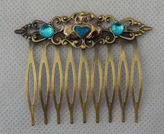 Gold Celtic Claddagh Hair Comb NEW Hair Pin Comb Handmade Wood Brass Blue #Handmade #HairComb