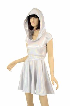 5401c60a Hooded Silvery White Flashbulb Holographic Cap Sleeve Fit and Flare Hoodie  Skater Skate Dress w/Self-Lined Hood Rave Clubwear EDM - E8098