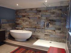 Customer Style Focus: Rachel's Reclaimed Wood Bathroom - wood effect tiles bathroom - Wood Tile Shower, Wooden Bathroom, Pallet Bathroom Walls, Barn Bathroom, Wood Effect Tiles, Wood Look Tile, Wood Tiles, Bathroom Tile Designs, Bathroom Interior Design