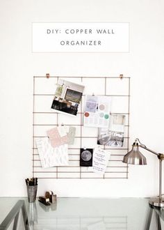 It's hard to believe this copper wall organizer is made from a hog panel! This minimalist approach looks great and still provides lots of space to clip items out of the way.