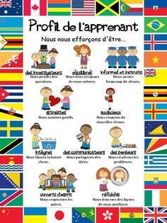 As requested, here is a poster with all of the Learner Profile attributes in French. You can print it in A3 or A4. To view more IB resources check out the IB Ib Learner Profile, Elementary Spanish, Student Behavior, Blooms Taxonomy, Cvc Words, Music For Kids, Teacher Newsletter, Back To School, Language