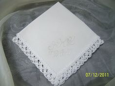 Embroidered and Crochet Bridal Handkerchief / Hanky. $10.50, via Etsy.