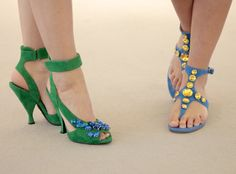 Prada Sandals, green suede with blue crystals with a high hour-glass shaped heel, and blue suede flats with yellow crystals. From spring summer 2014. Available from Wunderl in Austria. www.wunderl.com Summer 2014, Spring Summer, Suede Flats, Green Suede, Blue Crystals, Flat Sandals, Austria, Prada, Fall Winter