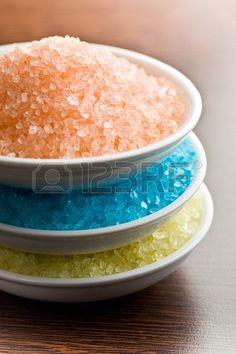 the different colours of bath salt Stock Photo - 18943523