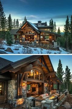 Five Benefits Of Log Houses - House Topics Log houses are tremendously energy efficient. They naturally possess magical insulating and cooling properties typical of older rock houses. Mountain Dream Homes, Mountain Home Exterior, Dream House Exterior, Dream House Plans, Mountain Home Plans, Log Homes Exterior, Dream Home Design, Modern House Design, Log Home Living