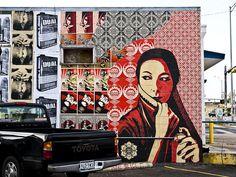 Paste up street art by Obey aka Frank Shepard Fairey Home Slice Pizza parking lot.  Photo by Bill Oriani