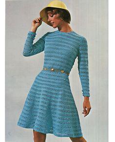 Crochet DRESS Pattern Vintage 70s Crochet Mod by Liloumariposa