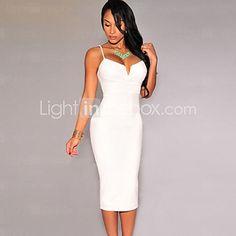 Women's Black/White/Red Sexy Pluging Bodycon Midi Dress - USD $16.99